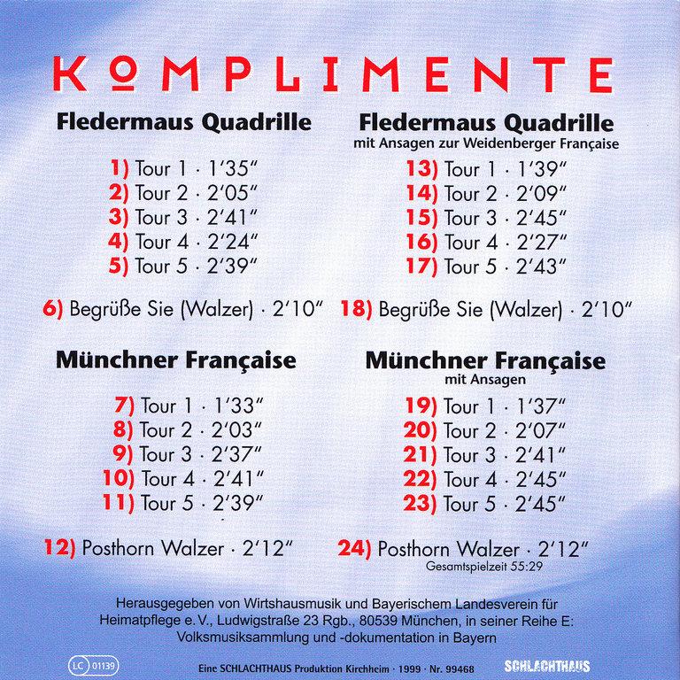 CD Komplimente - Musik zur Francaise - Tanzversand-Shop